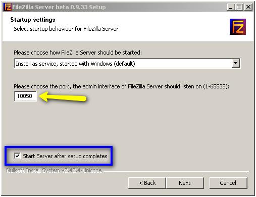 Установка порта консоли администрирования и автозапуска службы сервера