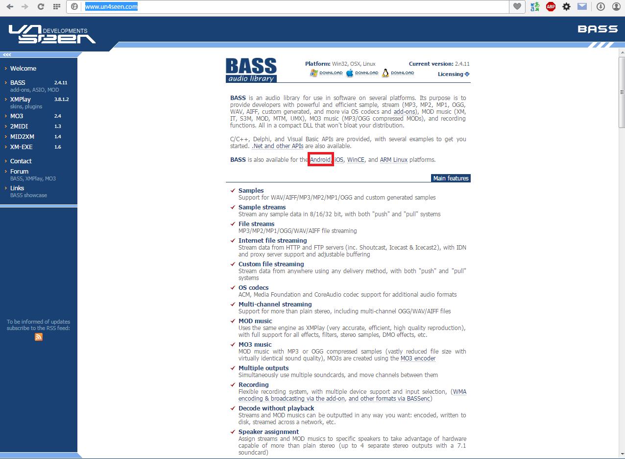 Сайт библиотеки BASS