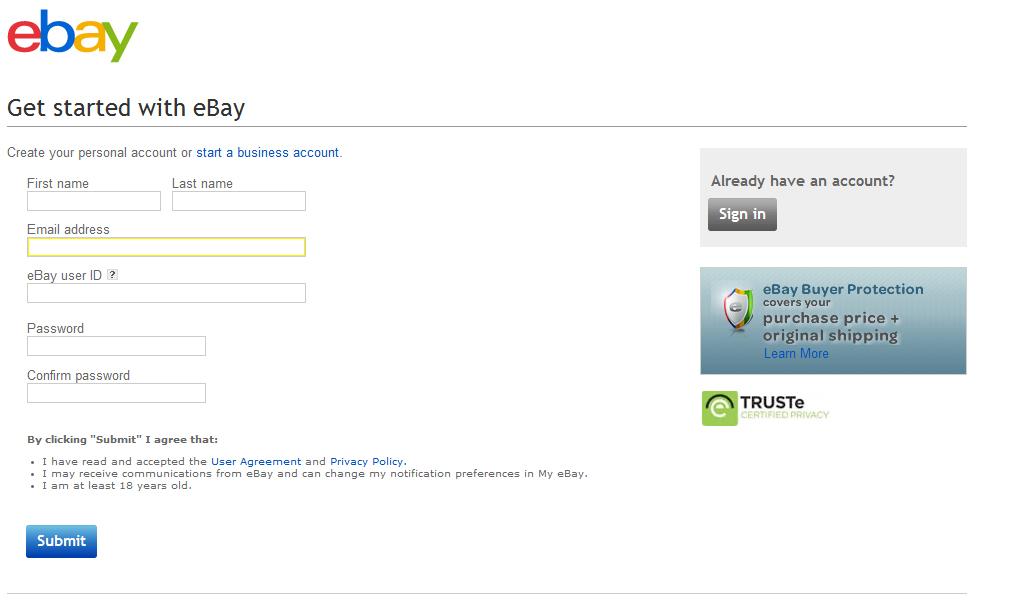 Форма регистрации нового пользователя.