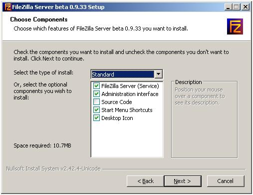 Стандартный тип установки FTP сервера