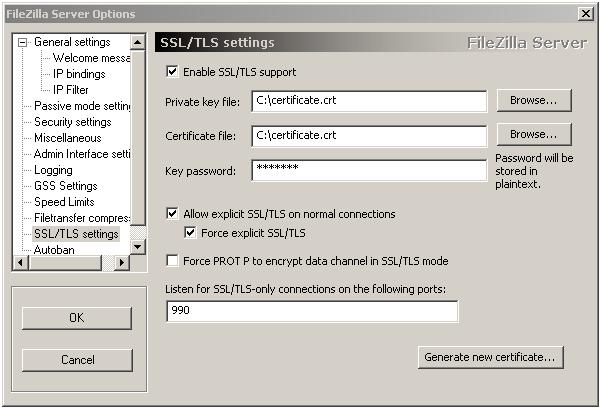 Указание файлов сертификата и ключа