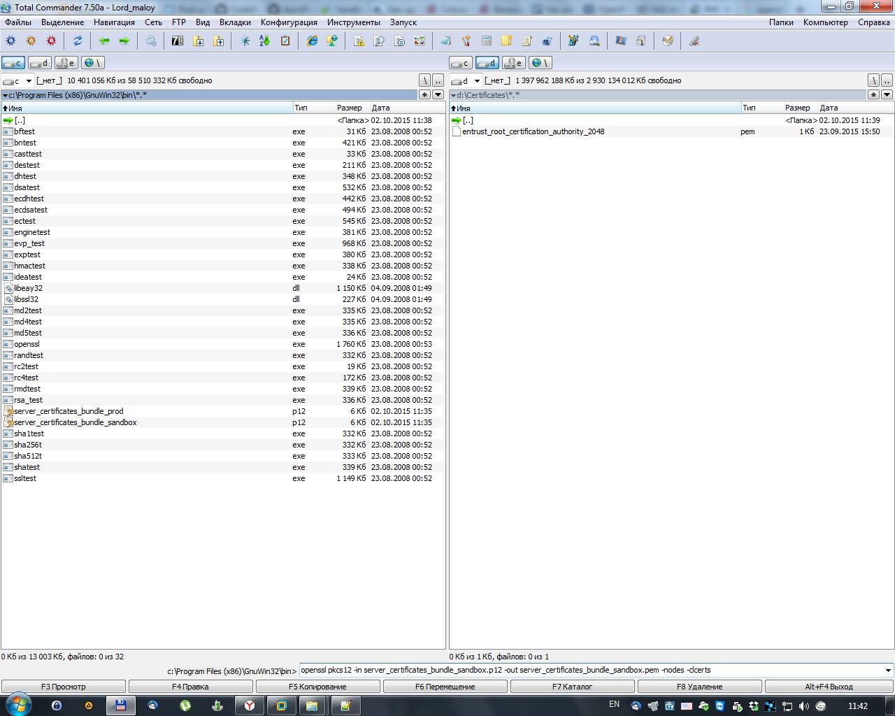 Выполнение команд конвертации сертификатов.